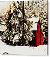 Wintry Red Barn Canvas Print