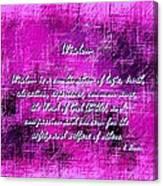 Wisdom Enhanced Violet Canvas Print