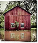 Wise Old Barn Flood Canvas Print