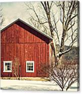 Wise Old Barn Winter Time Canvas Print