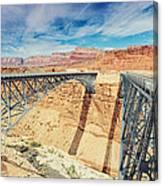 Wispy Clouds Over Navajo Bridge North Rim Grand Canyon Colorado River Canvas Print