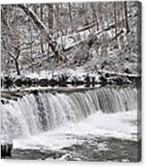 Wissahickon Waterfall In Winter Canvas Print