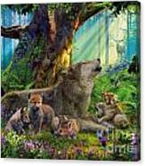 Wolf And Cubs In The Woods Canvas Print