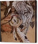 Wolf And Shaman  Canvas Print