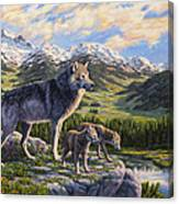 Wolf Painting - Passing It On Canvas Print