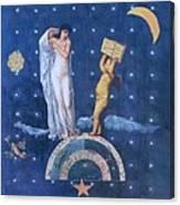 Woman And Cherub Canvas Print