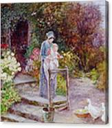 Woman And Child In A Cottage Garden Canvas Print