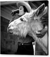 Woman And Donkey Black And White Canvas Print