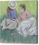 Woman And Girl On The Grass Canvas Print