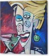 Woman At Martini Bar Canvas Print