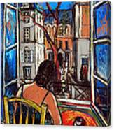 Woman At Window Canvas Print