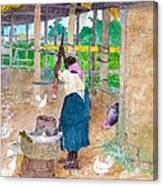 Woman Beating Cassava Jamaica Canvas Print