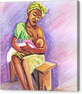 Woman Breastfeeding Bay In Rwanda Canvas Print