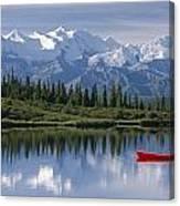 Woman Canoeing In Wonder Lake Alaska Canvas Print