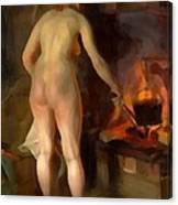 Woman Cooking Over An Open Fire Canvas Print