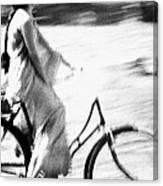 Woman Cycling Canvas Print
