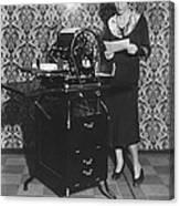 Woman Demonstrates Duplicator Canvas Print