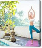 Woman Doing Yoga In The Morning Canvas Print