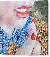 Woman Eating Marshmallow- Oil Portrait Canvas Print