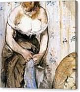 Woman Fastening Her Garter Canvas Print