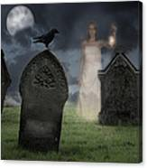 Woman Haunting Cemetery Canvas Print