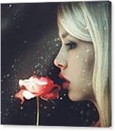 Woman Holding Rose Behind A Rainy Window Canvas Print