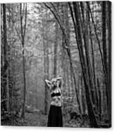 Woman In A Forrest Canvas Print