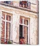 Woman In A Paris Window Canvas Print