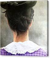 Woman In Black Hat Canvas Print