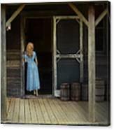 Woman In Cabin Doorway Canvas Print