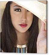 Woman In Hat Canvas Print
