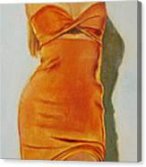 Woman In Orange Dress Canvas Print