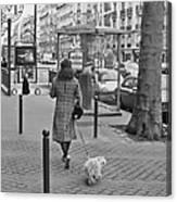 Woman In Paris Walking Dog Canvas Print