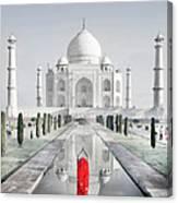 Woman In Red Sari Praying At Taj Mahal Canvas Print