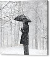 Woman In The Forest With An Umbrella Canvas Print