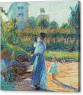 Woman In The Garden Canvas Print