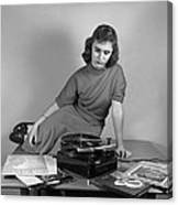 Woman Listening To Records Canvas Print