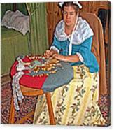 Woman Making Lace In Louisbourg Living History Museum-1744-ns Canvas Print
