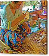 Woman Making Umbrella Ribs At Borsang Umbrella Factory In Chiang Mai-thailand Canvas Print