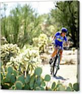 Woman Mountain Biking In Arizona Canvas Print