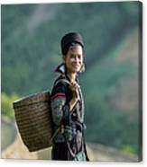 Woman Of Black Hmong Hill Tribe Next To Canvas Print