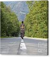 Woman On A Road Canvas Print