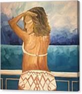 Woman On A Yacht Canvas Print