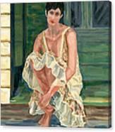Woman On Porch Canvas Print