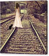 Woman On Railway Line Canvas Print