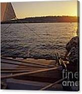Woman On Sailboat Sunset Canvas Print