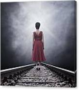 Woman On Tracks Canvas Print