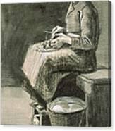 Woman Peeling Potatoes, 1882 Canvas Print