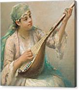 Woman Playing A String Instrument Canvas Print