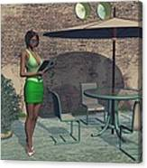 Woman Reading A Menu At A Street Cafe Canvas Print